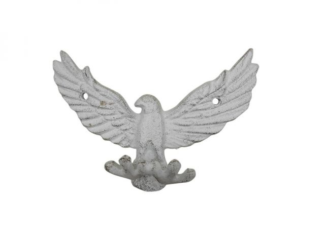 Whitewashed Cast Iron Flying Eagle Decorative Metal Talons Wall Hooks 6