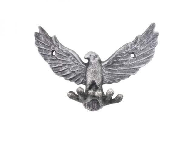 Rustic Silver Cast Iron Flying Eagle Decorative Metal Talons Wall Hooks 6