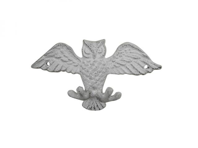 Whitewashed Cast Iron Flying Owl Decorative Metal Talons Wall Hooks 6