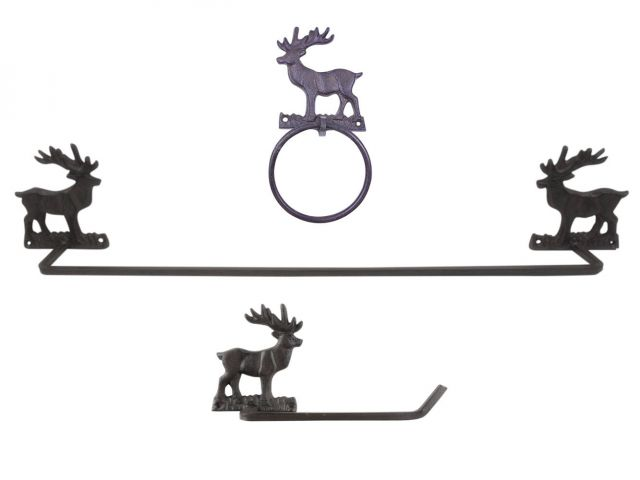 Cast Iron Moose Bathroom Set of 3 - Large Bath Towel Holder and Towel Ring and Toilet Paper Holder