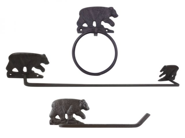 Cast Iron Black Bear Bathroom Set of 3 - Large Bath Towel Holder and Towel Ring and Toilet Paper Holder