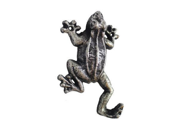Rustic Silver Cast Iron Frog Hook 6