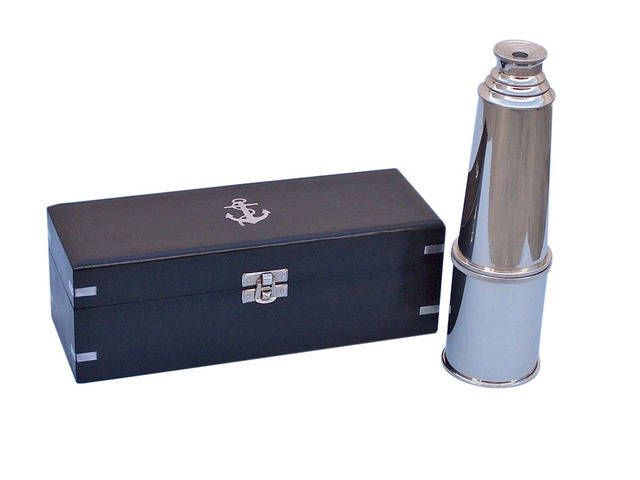 Deluxe Class Chrome Admirals Spyglass Telescope 27 with Black Rosewood Box
