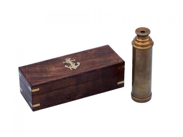 Deluxe Class Antique Brass Captains Spyglass Telescope 15 with Rosewood Box