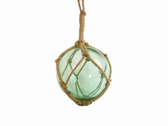 Seafoam Green Japanese Glass Ball Fishing Float With Brown Netting Decoration 12