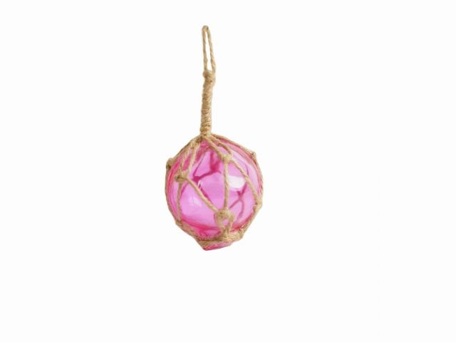 Pink Japanese Glass Ball Fishing Float With Brown Netting Decoration 2