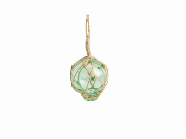Seafoam Green Japanese Glass Ball Fishing Float With Brown Netting Decoration 2