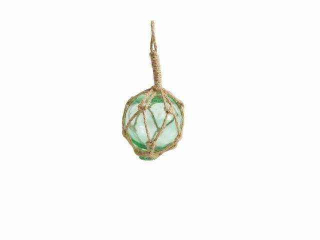 Seafoam Green Japanese Glass Ball Fishing Float With Brown Netting Decoration 3