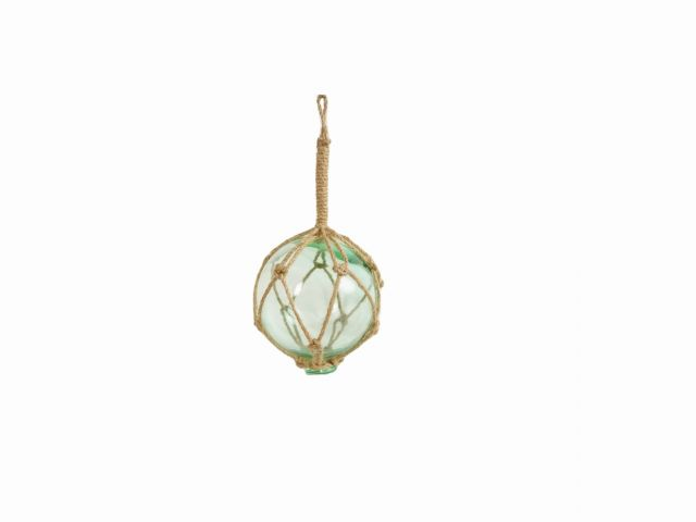 Seafoam Green Japanese Glass Ball Fishing Float With Brown Netting Decoration 4