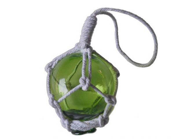 Green Japanese Glass Ball With White Netting Christmas Ornament 2
