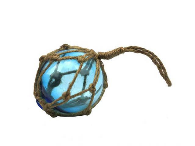 Light Blue Japanese Glass Ball Fishing Float With Brown Netting Decoration 3