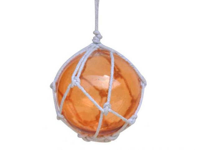 Orange Japanese Glass Ball Fishing Float With White Netting Decoration 3