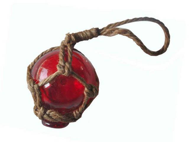 Red Japanese Glass Ball With Brown Netting Christmas Ornament 2