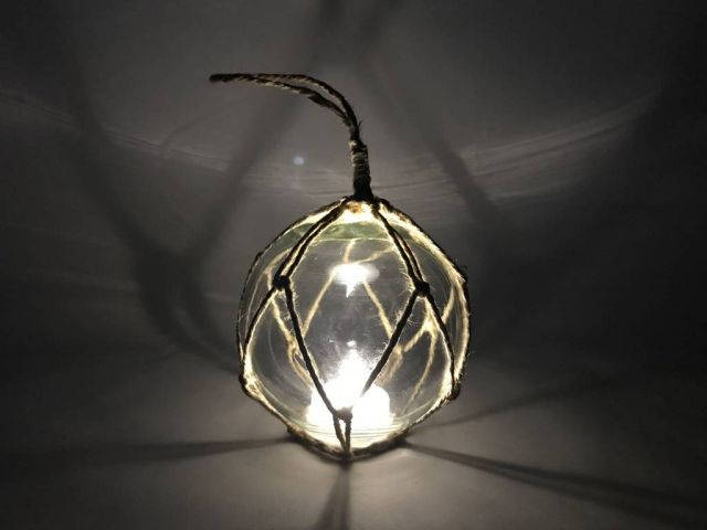 LED Lighted Clear Japanese Glass Ball Fishing Float with Brown Netting Decoration 4