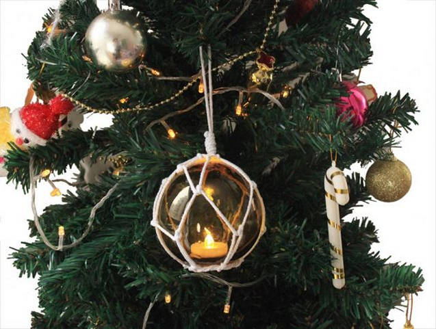 LED Lighted Amber Japanese Glass Ball Fishing Float with White Netting Christmas Tree Ornament 4