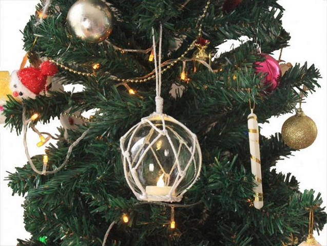 LED Lighted Clear Japanese Glass Ball Fishing Float with White Netting Christmas Tree Ornament 3