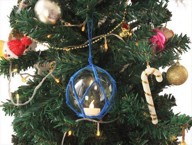 LED Lighted Clear Japanese Glass Ball Fishing Float with Blue Netting Christmas Tree Ornament 3