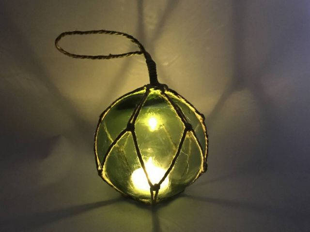 LED Lighted Green Japanese Glass Ball Fishing Float with Brown Netting Decoration 4