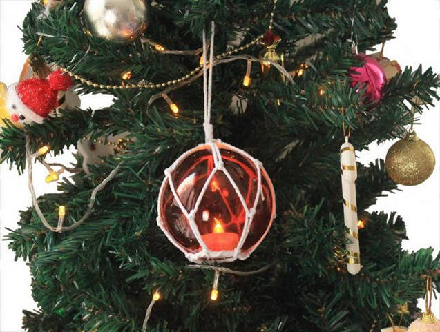 LED Lighted Orange Japanese Glass Ball Fishing Float with White Netting Christmas Tree Ornament 4