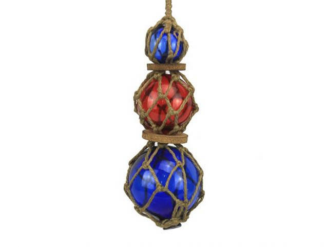 Blue - Red - Blue Japanese Glass Ball Fishing Floats with Brown Netting Decoration 11
