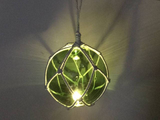 LED Lighted Green Japanese Glass Ball Fishing Float with White Netting Decoration 10