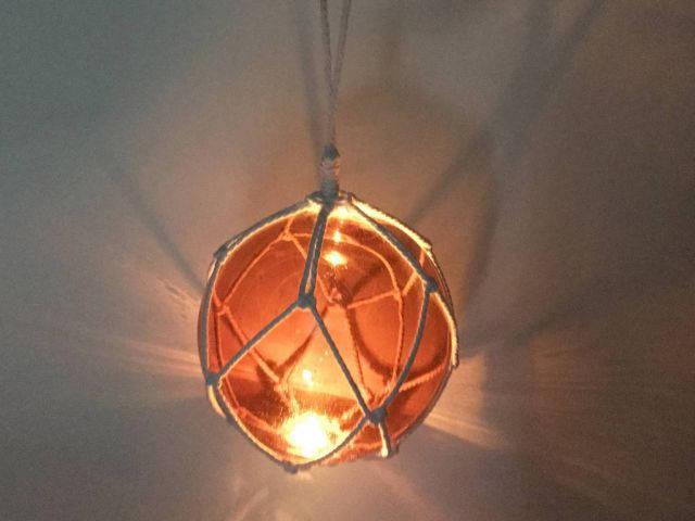 LED Lighted Orange Japanese Glass Ball Fishing Float with White Netting Decoration 10