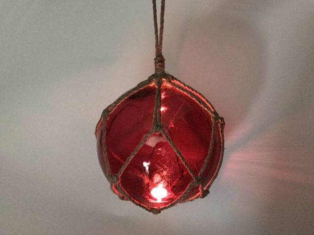 LED Lighted Red Japanese Glass Ball Fishing Float with Brown Netting Decoration 10