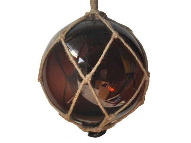 Amber Japanese Glass Ball Fishing Float With Brown Netting Decoration 10