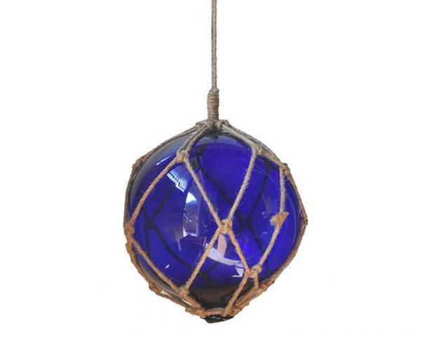 Blue Japanese Glass Ball Fishing Float With Brown Netting Decoration 10