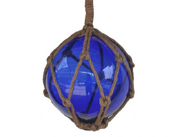 Blue Japanese Glass Ball Fishing Float With Brown Netting Decoration 6