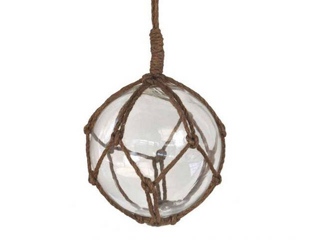 Clear Japanese Glass Ball Fishing Float With Brown Netting Decoration 6