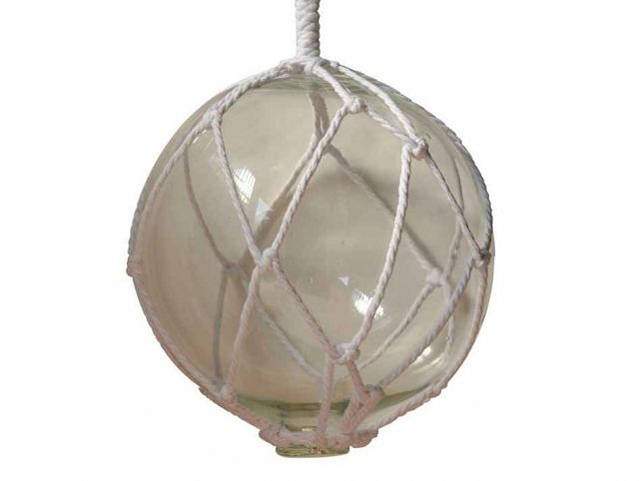 Clear Japanese Glass Ball Fishing Float With White Netting Decoration 10