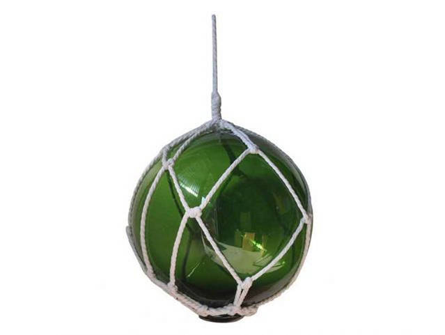 Green Japanese Glass Ball Fishing Float With White Netting Decoration 10