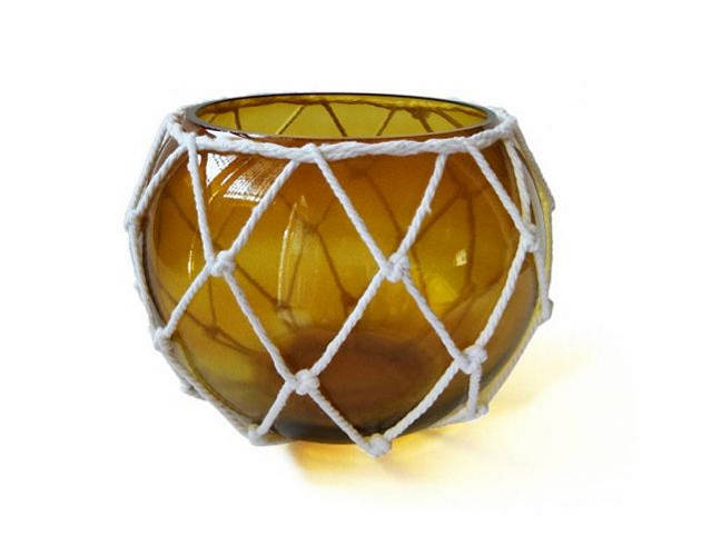 Amber Japanese Glass Fishing Float Bowl with Decorative White Fish Netting 8