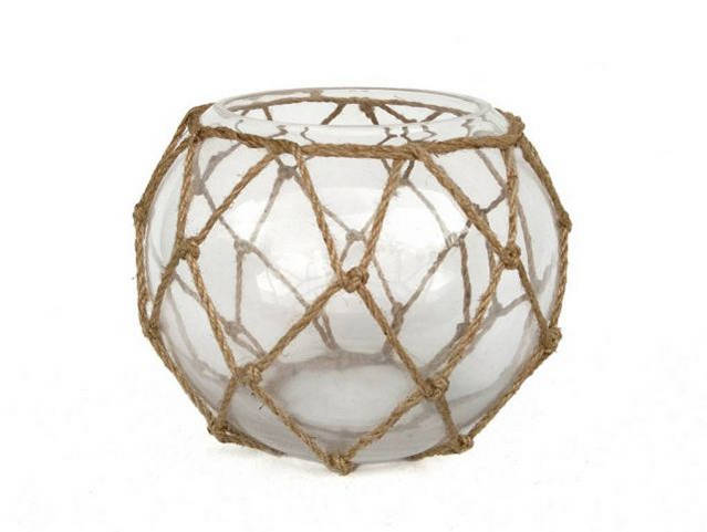 Clear Japanese Glass Fishing Float Bowl with Decorative Brown Fish Netting 8