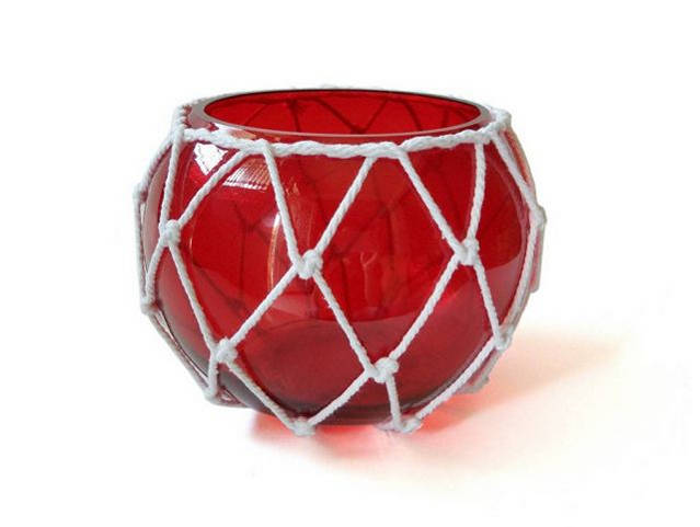 Red Japanese Glass Fishing Float Bowl with Decorative White Fish Netting 8