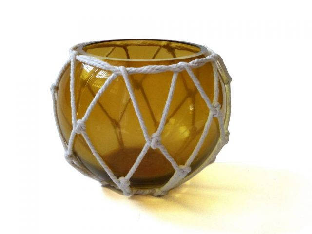 Amber Japanese Glass Fishing Float Bowl with Decorative White Fish Netting 6