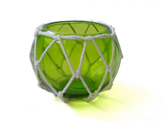 Green Japanese Glass Fishing Float Bowl with Decorative White Fish Netting 6