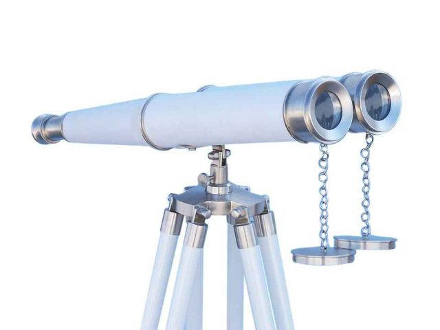 Hampton Collection Floor Standing Brushed Nickel with White Leather Binoculars 62