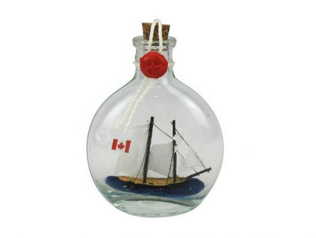 Bluenose Sailboat in a Glass Bottle 4