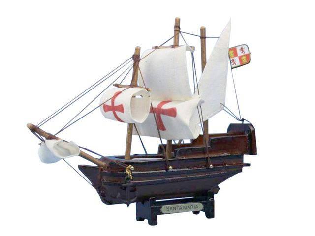 Wooden Santa Maria Tall Model Ship 7