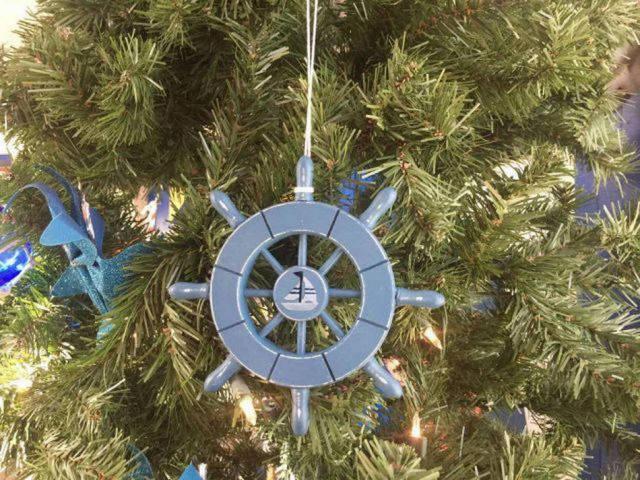 Rustic Light Blue Decorative Ship Wheel With Sailboat Christmas Tree Ornament 6