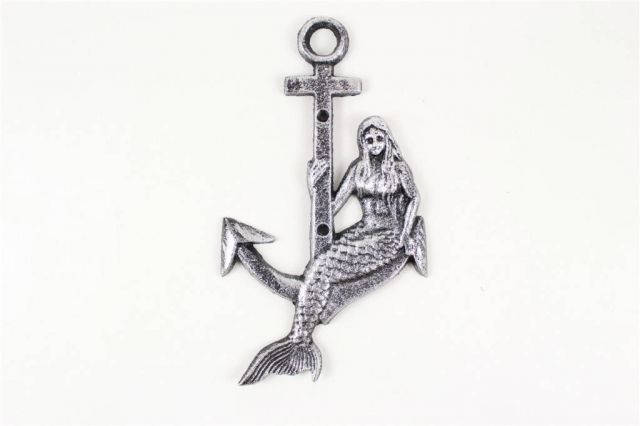 Rustic Silver Cast Iron Mermaid Anchor 9