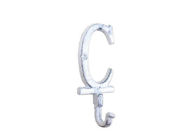 Whitewashed Cast Iron Letter C Alphabet Wall Hook 6