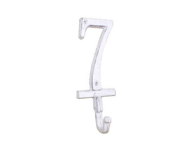 Whitewashed Cast Iron Number 7 Wall Hook 6