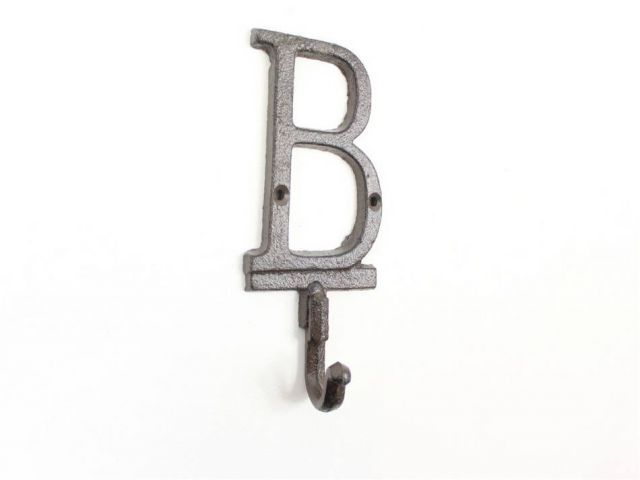 Cast Iron Letter B Alphabet Wall Hook 6