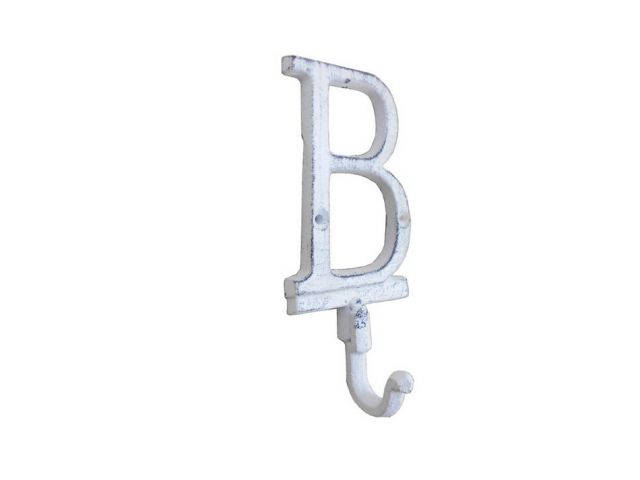 Whitewashed Cast Iron Letter B Alphabet Wall Hook 6