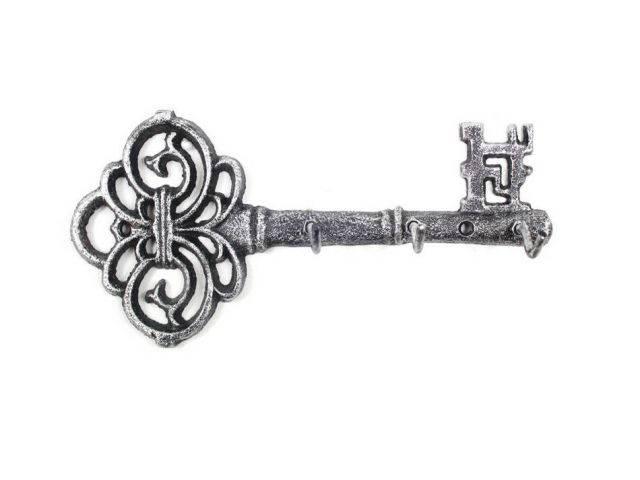 Rustic Silver Cast Iron Vintage Key Wall Mounted Key Hooks 11
