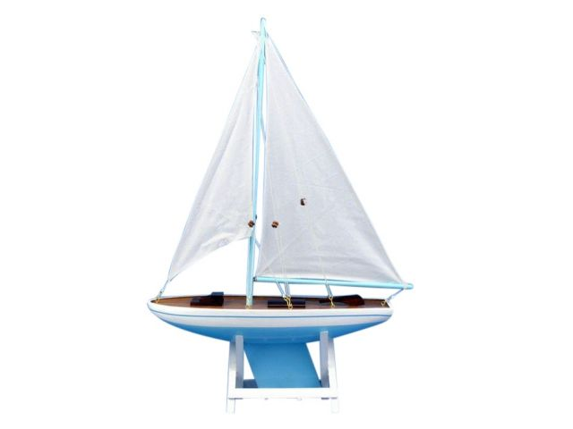 Wooden Decorative Sailboat Model 21 - Light Blue Sailboat Model