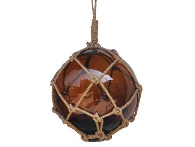 Amber Japanese Glass Ball Fishing Float With Brown Netting Decoration 12